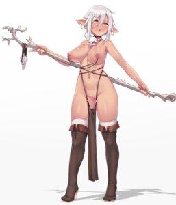 Rating: Explicit Score: 50 Tags: elf heels nipples nopan pointy_ears pussy shishigaj5 thighhighs topless uncensored weapon User: Nico-NicoO.M.