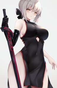 Rating: Questionable Score: 52 Tags: chinadress fate/grand_order kisaki_oni no_bra nopan saber saber_alter sword User: Mr_GT