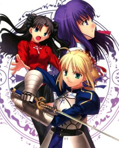 Rating: Safe Score: 18 Tags: armor dress fate/stay_night matou_sakura saber seifuku sword takeuchi_takashi thighhighs toosaka_rin type-moon User: 逍遥游