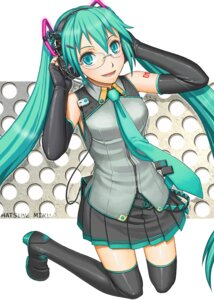 Rating: Safe Score: 8 Tags: hatsune_miku headphones heels itou_(onnsokutassha) megane thighhighs vocaloid User: Amperrior