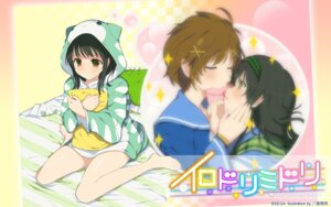 Rating: Safe Score: 19 Tags: irodori_midori pajama seifuku wallpaper yaegashi_nan yuri User: fairyren