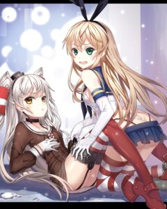 Rating: Safe Score: 55 Tags: amatsukaze_(kancolle) ass guangfu_bao_tong_meng0-0 heels kantai_collection no_bra nopan shimakaze_(kancolle) stockings thighhighs thong User: Mr_GT