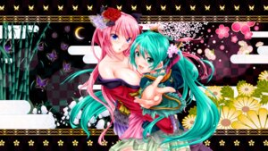 Rating: Safe Score: 33 Tags: cleavage hatsune_miku megurine_luka tsukineko vocaloid User: fairyren