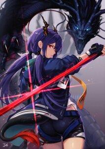 Rating: Questionable Score: 21 Tags: arknights ass baek_hyang ch'en_(arknights) horns monster sword tail User: Rejectors