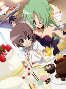 Rating: Safe Score: 10 Tags: cleavage higurashi_no_naku_koro_ni maebara_keiichi numata_seiya sonozaki_shion waitress User: charly_rozen