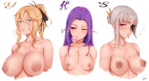 Rating: Questionable Score: 45 Tags: eyepatch lactation nipples pointy_ears rosaline smoking topless User: BattlequeenYume