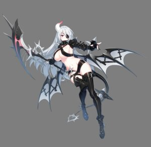 Rating: Questionable Score: 43 Tags: armor closers eyepatch heels horns levia_(closers) no_bra pointy_ears red_star_alliance tail thighhighs transparent_png weapon wings User: Nepcoheart