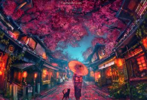 Rating: Safe Score: 42 Tags: kimono landscape neko umbrella wenqing_yan User: BattlequeenYume