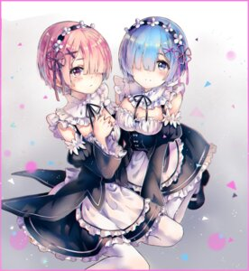 Rating: Safe Score: 48 Tags: cleavage maid ram_(re_zero) re_zero_kara_hajimeru_isekai_seikatsu rem_(re_zero) teka User: Mr_GT