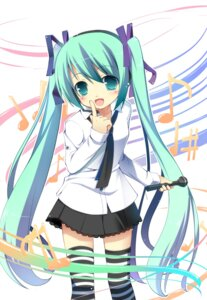 Rating: Safe Score: 46 Tags: hatsune_miku masaki_(machisora) thighhighs vocaloid User: Stingers
