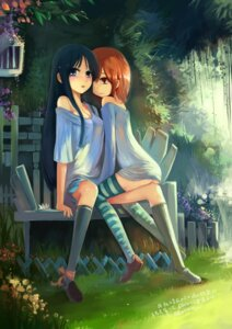 Rating: Questionable Score: 72 Tags: akiyama_mio bottomless hirasawa_yui k-on! no_bra summercards thighhighs yuri User: blooregardo