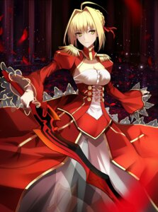 Rating: Safe Score: 46 Tags: cleavage dress fate/grand_order pantsu saber_extra see_through shiguru sword User: mash