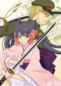 Rating: Safe Score: 9 Tags: agemaki_kei animal_ears japanese_clothes kimono otome_youkai_zakuro sword zakuro User: charunetra
