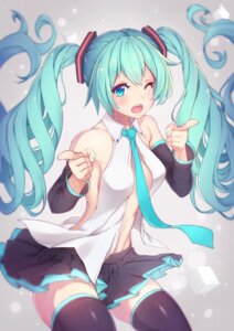 Rating: Safe Score: 58 Tags: hatsune_miku no_bra open_shirt thighhighs vocaloid zeolch User: Mr_GT