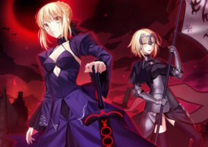 Rating: Safe Score: 36 Tags: armor cleavage dress fate/grand_order fate/stay_night fuyuki_(neigedhiver) ruler_(fate/apocrypha) saber saber_alter sword thighhighs weapon User: Mr_GT
