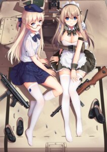 Rating: Safe Score: 63 Tags: allenes cleavage girls_frontline gun maid megane thighhighs uniform User: Mr_GT