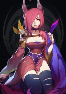 Rating: Safe Score: 53 Tags: animal_ears bandages cleavage league_of_legends pantsu songjikyo xayah User: Mr_GT
