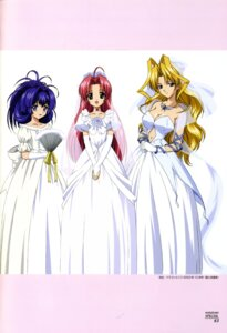 Rating: Safe Score: 15 Tags: dress kamishiro_rin kazetsubaki_kuriko maburaho miyama_yuuna wedding_dress User: Wraith