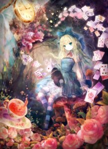 Rating: Safe Score: 70 Tags: alice alice_in_wonderland cheshire_cat dress onineko thighhighs white_rabbit User: fireattack