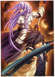 Rating: Safe Score: 8 Tags: armor aselia_bluespirit dress eien_no_aselia hitomaru sword takamine_yuuto xuse User: hirotn