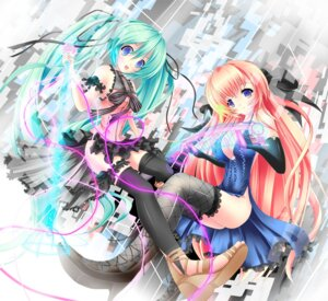 Rating: Safe Score: 33 Tags: akairo_no_mako cleavage dress hatsune_miku megurine_luka thighhighs vocaloid User: TassadaR