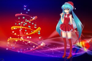 Rating: Safe Score: 8 Tags: christmas dress hatsune_miku jpeg_artifacts thighhighs ushas vocaloid User: thelost