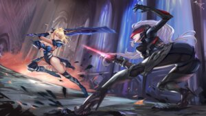 Rating: Questionable Score: 60 Tags: armor ass bodysuit cleavage fiora heels league_of_legends moon_person no_bra riven_(league_of_legends) sword thighhighs User: mash