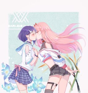 Rating: Safe Score: 40 Tags: darling_in_the_franxx garter horns ichigo_(darling_in_the_franxx) stockings thighhighs xilin yuri zero_two_(darling_in_the_franxx) User: Spidey