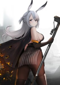 Rating: Questionable Score: 23 Tags: animal_ears arknights ass bunny_ears kuguiema no_bra pantyhose savage_(arknights) thighhighs weapon User: BattlequeenYume