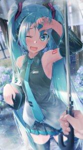Rating: Safe Score: 25 Tags: daidou hatsune_miku headphones tattoo thighhighs umbrella vocaloid wet wet_clothes User: Mr_GT