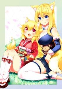 Rating: Safe Score: 37 Tags: animal_ears kimono kitsune naomi_(sekai_no_hate_no_kissaten) tail thighhighs User: 椎名深夏