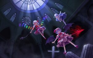 Rating: Safe Score: 12 Tags: bloomers flandre_scarlet izayoi_sakuya jackiexp remilia_scarlet thighhighs touhou wallpaper wings User: Mr_GT