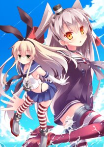 Rating: Safe Score: 50 Tags: a_flow amatsukaze_(kancolle) kantai_collection shimakaze_(kancolle) stockings thighhighs wet User: fairyren
