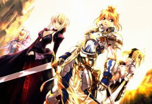 Rating: Safe Score: 60 Tags: armor cleavage dress fate/extra fate/extra_ccc fate/hollow_ataraxia fate/stay_night fate/unlimited_codes jian_huang saber saber_alter saber_bride saber_extra saber_lily sword User: omegakung