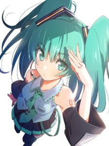 Rating: Safe Score: 59 Tags: domo1220 hatsune_miku tattoo thighhighs vocaloid User: nphuongsun93