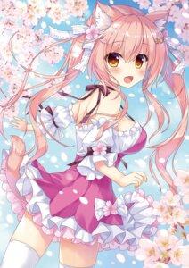 Rating: Safe Score: 31 Tags: ame_to_yuki animal_ears dress nekomimi tail thighhighs User: kiyoe