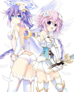 Rating: Questionable Score: 53 Tags: armor ass choujigen_game_neptune four_goddesses_online:_cyber_dimension_neptune neptune no_bra pantsu purple_heart see_through sword thighhighs wings zero_(ray_0805) User: Nepcoheart