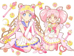 Rating: Safe Score: 10 Tags: chibiusa chiroru_(uarmm) sailor_moon see_through tsukino_usagi wallpaper weapon User: charunetra