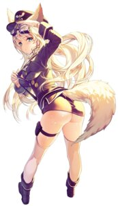 Rating: Questionable Score: 75 Tags: animal_ears ass cherrypin kitsune nopan open_shirt qurare:magical_library tail thighhighs uniform User: blooregardo