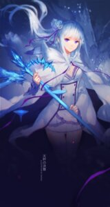 Rating: Safe Score: 85 Tags: cleavage emilia_(re_zero) pointy_ears re_zero_kara_hajimeru_isekai_seikatsu swd3e2 thighhighs weapon User: Mr_GT