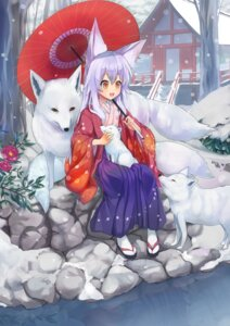 Rating: Safe Score: 34 Tags: animal_ears japanese_clothes kitsune tail umbrella waichi User: Mr_GT