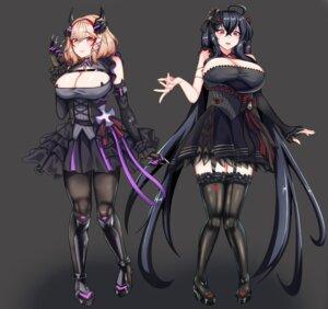 Rating: Questionable Score: 7 Tags: azur_lane comotaro gothic_lolita heels horns lolita_fashion no_bra roon_(azur_lane) stockings taihou_(azur_lane) thighhighs User: popcorn1239