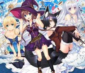 Rating: Safe Score: 32 Tags: animal_ears cleavage cosmic_cute dress muutsuki pointy_ears sword tail thighhighs unjou_no_fairy_tale witch User: moonian