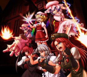Rating: Safe Score: 8 Tags: daina_rukawa flandre_scarlet hong_meiling izayoi_sakuya koakuma patchouli_knowledge remilia_scarlet touhou User: Mr_GT