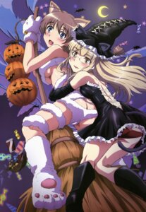 Rating: Questionable Score: 56 Tags: animal_ears ass dress halloween lynette_bishop megane nekomimi pantsu perrine-h_clostermann strike_witches tail tamura_masafumi underboob witch User: YamatoBomber