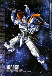 Rating: Safe Score: 15 Tags: gun gundam gundam_astray_blue_frame_2nd gundam_seed gundam_seed_astray mecha sword ueda_youichi weapon User: drop