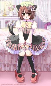 Rating: Safe Score: 8 Tags: animal_ears chen dress kasane nekomimi tail touhou User: charunetra