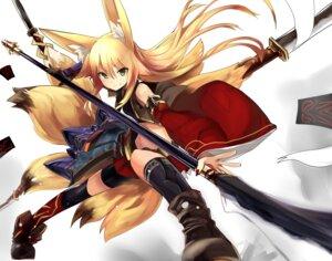 Rating: Safe Score: 71 Tags: animal_ears haik kitsune kokonoe_tsubaki tail weapon User: tbchyu001