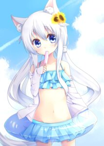 Rating: Safe Score: 77 Tags: animal_ears bikini joujou open_shirt swimsuits tail User: Mr_GT