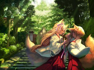 Rating: Safe Score: 18 Tags: animal_ears kitsune miko tail tamarashi User: Mr_GT